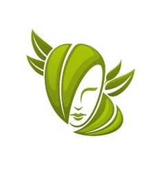 Woman head with green leaves vector image