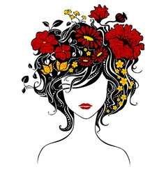 Abstract beautiful girl with flowers in hair vector image