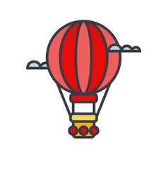 air balloon aerostat flat line vector image vector image