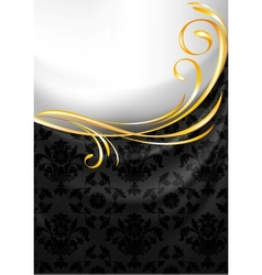 Black fabric curtain gold vignette vector image vector image