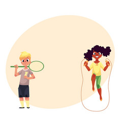 boy and girl with jumping rope badminton racket vector image vector image