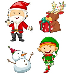 Christmas characters set on white background vector image