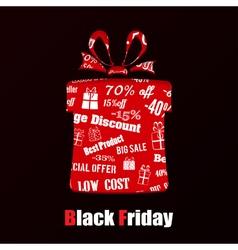 Gift box on Black Friday vector image