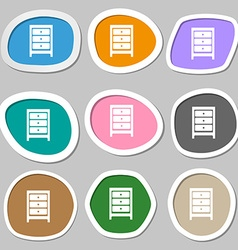 Nightstand icon sign Multicolored paper stickers vector image