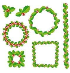 Set of Christmas wreath frames and borders vector image