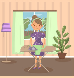 woman housewife ironing clothes on an ironing vector image vector image