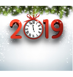 2019 new year background with fir branches and red vector image
