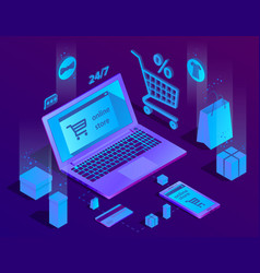 3d isometric e-commerce concept online vector