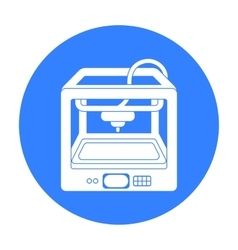 3D Printer in black style isolated on white vector image