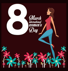 8 march womens day card girl cheerful vector image