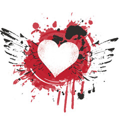 Abstract heart and wings with splashes blood vector