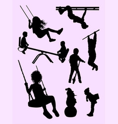 active kids gesture silhouette vector image