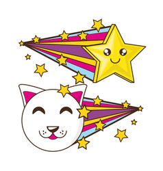 adorable little cat with smile star vector image