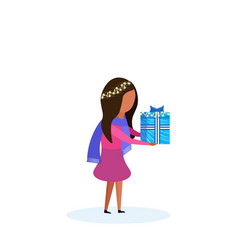 african american girl holding gift box happy new vector image