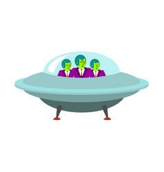 Aliens in ufo spaceship green humanoid invasion vector