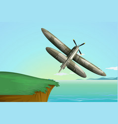 army airplane flying over ocean vector image