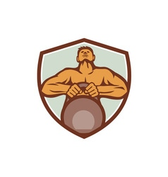 Athlete Weightlifter Lifting Kettlebell Crest vector image