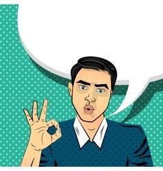 Attractive brunette man gesture hand ok vector image