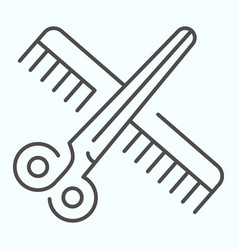 Barber instruments thin line icon scissors and vector