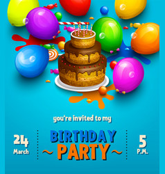 Birthday party invitation card party balloons vector
