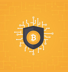 bitcoin security flat concept vector image