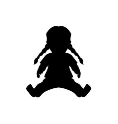 black silhouette of doll kids toy vector image