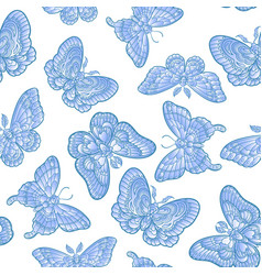 blue butteflies on white background seamless vector image