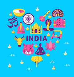 bright banner with india national symbols in flat vector image