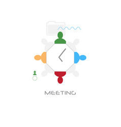 businesspeople sitting around desk top view vector image