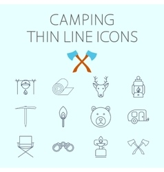 Camping related flat icon set vector image