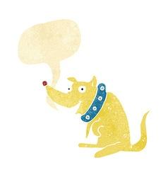 cartoon happy dog in big collar with speech bubble vector image