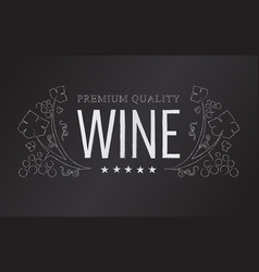 Chalk wine emblem vector