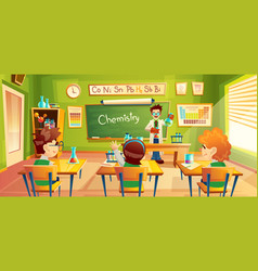 Children at chemistry lesson vector
