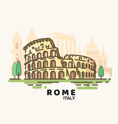 City rome in outline style on white background vector