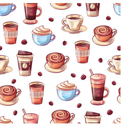 coffee cups and beans seamless pattern beverage vector image