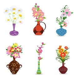 Collection of bouquet of flowers in vase for your vector
