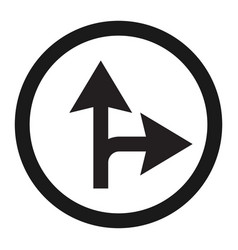 Compulsory ahead or right sign line icon vector