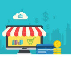 concept of online shop flat icons of computer vector image