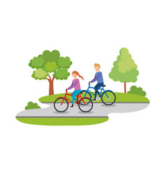 couple ridding bicycles characters vector image