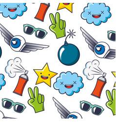 creativity cloud star spray sunglasses pattern vector image