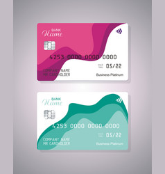 Credit card with abstract shape waves detailed vector