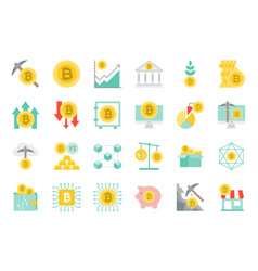 cryptocurrency concept flat icon set vector image