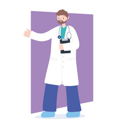 Doctors and nurses bearded male physician vector