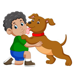 dog licking his owner face vector image
