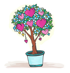 Doodle tree in a pot with heart fruits and flowers vector