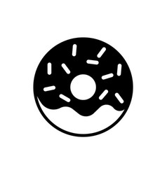 Doughnut black icon on white background sweet vector
