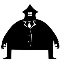 Face house head fat man vector