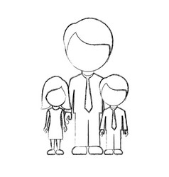 Figure man with his children icon vector