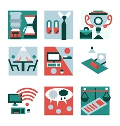 Flat color icons for co-working vector image