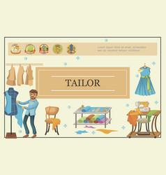 flat tailoring template vector image